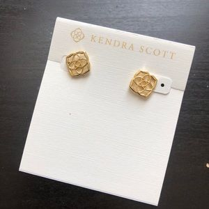 NWT Kendra Scott Gold Logo Earrings